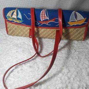 Handbags - Sailboat Straw Purse Handbag Vintage Nautical